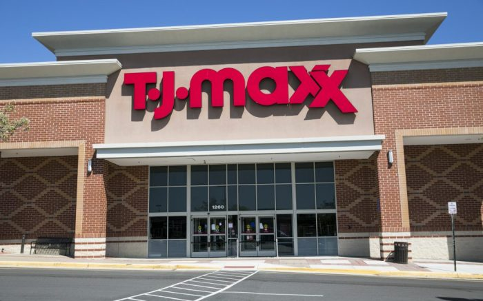 A logo sign outside of a TJ Maxx retail store location in Stafford, Virginia on April 2, 2020. (Photo by Kristoffer Tripplaar/Sipa USA)(Sipa via AP Images)