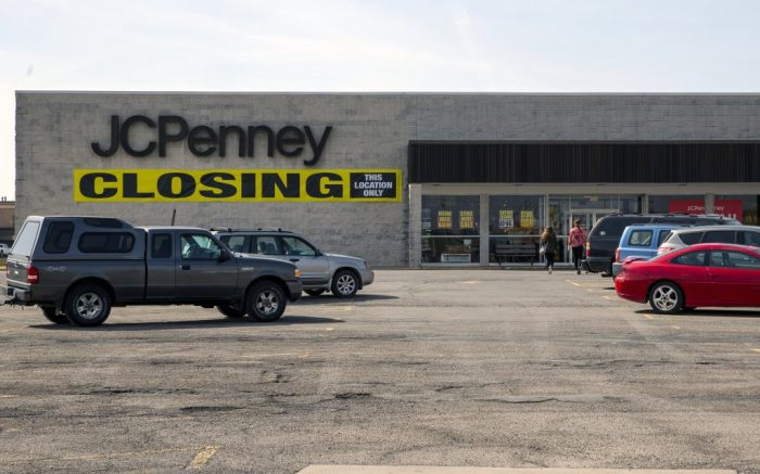 A closing sign hangs in front of a JCPenney department store in Clarion, Pennsylvania on Wednesday, March 17, 2021. (AP Photo/Ted Shaffrey)