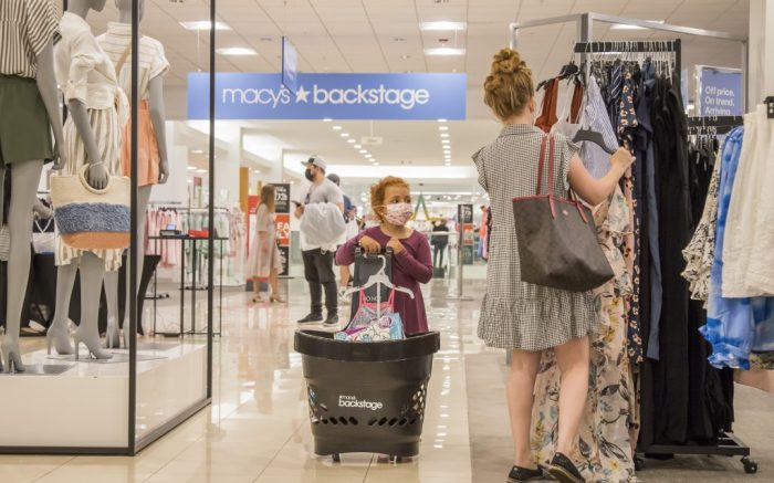 IMAGE DISTRIBUTED FOR MACY'S INC. - A mom and daughter shopping in Backstage with a cart full of treasures. There's something for everyone, from kids apparel to fashion for mom. Macy's Backstage at Miami International Mall is a place for the whole family. Macys Backstage opens within Macys Miami International and Macys Coral Square stores, offering fashion-loving customers another way to shop at their favorite store by providing a store-within-store shopping experience featuring significant savings on fabulous finds on Saturday, May. 01, 2021 in Miami. (Jesus Aranguren/AP Images for Macy's, Inc.)