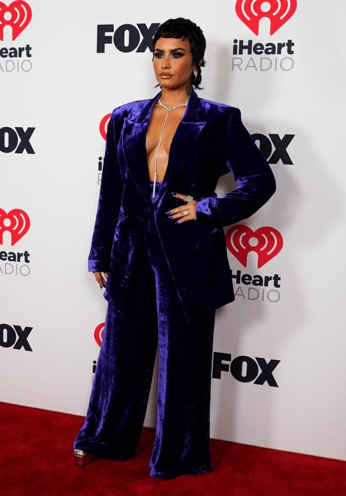 Demi Lovato, velvet suit, blazer, necklace, iheartradio music awards, red carpet, platforms, heels