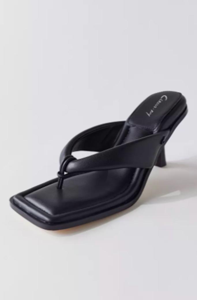 Circus by Sam Edelman Skeet Thong Heels, black sandals, square toe sandals, heeled thong sandals