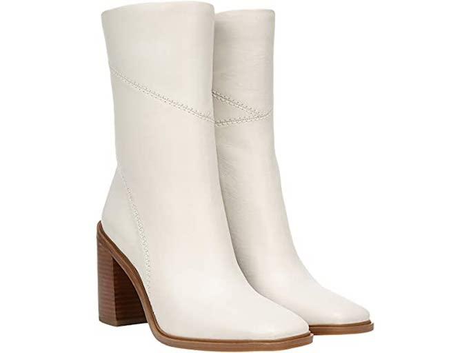 franco sarto, white boots, mid calf boots