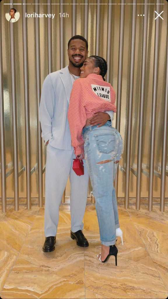 lori harvey, shirt, jeans, cutou pants, michael b jordan, heels, sandals, las vegas, suit, movie