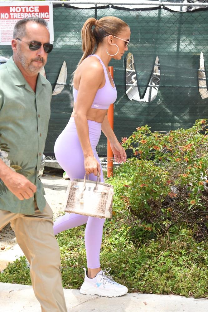 JLo, purple, set, workout, Miami