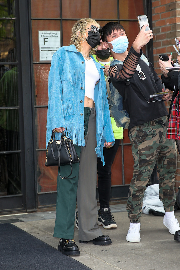 Miley Cyrus, blue fringe jacket, two toned pants, gucci loafers, platform loafers, nyc