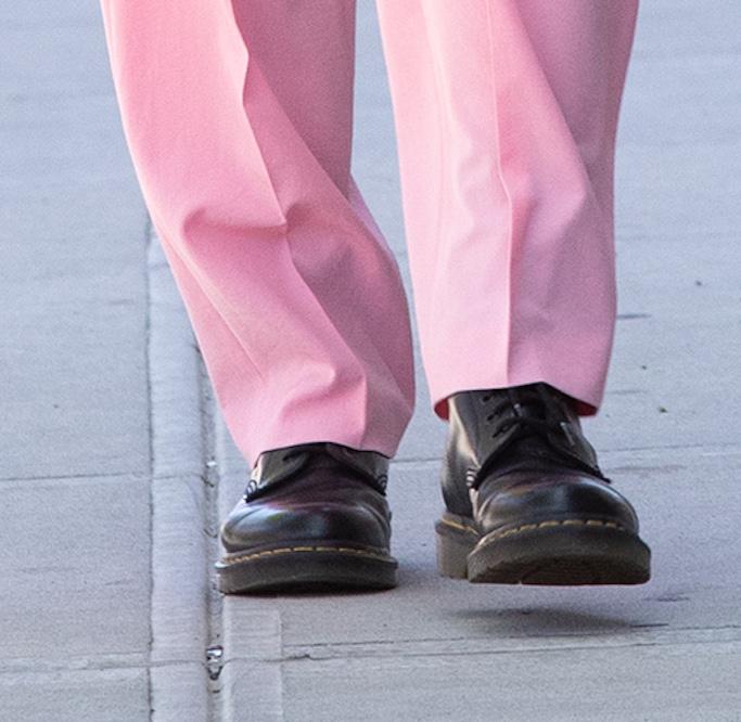 Irina Shayk, pink jacket, pink trousers, black combat boots, nyc