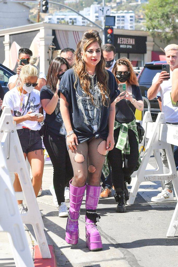 Lady Gaga wears 8-inch platform boots in West Hollywood, Calif.