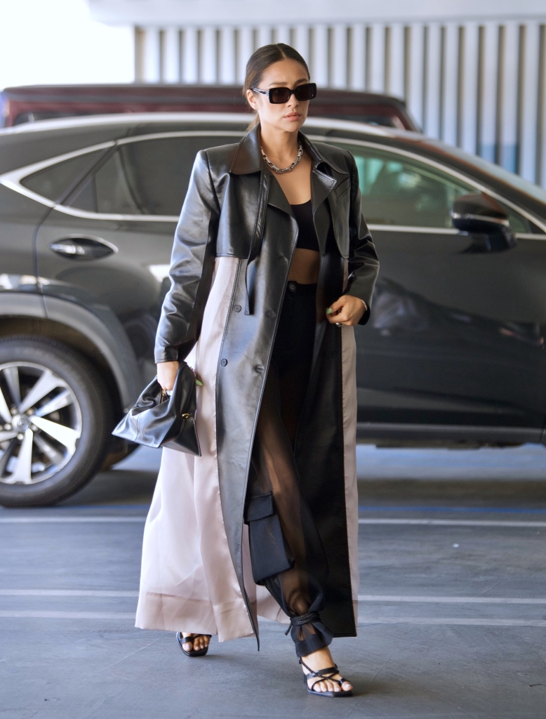 Shay Mitchell was spotted out in Beverly Hills on Tuesday as she headed to a meeting. The actress and model looked stylish in a Black crop top, cargo pants and a leather accented trench coat as she grabbed a few things from her car alongside an assistant. 25 May 2021 Pictured: Shay Mitchell. Photo credit: MEGA TheMegaAgency.com +1 888 505 6342 (Mega Agency TagID: MEGA757529_002.jpg) [Photo via Mega Agency]