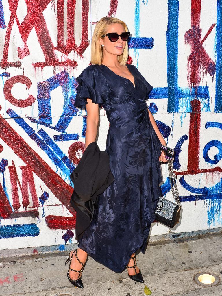 Paris Hilton, West Hollywood, dress, Valentino, Rockstud, skull, purse