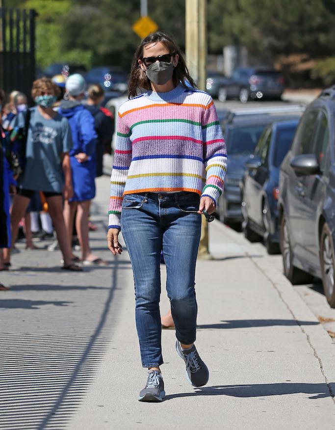 Jennifer Garner, striped knit sweater, brooks sneakers, la