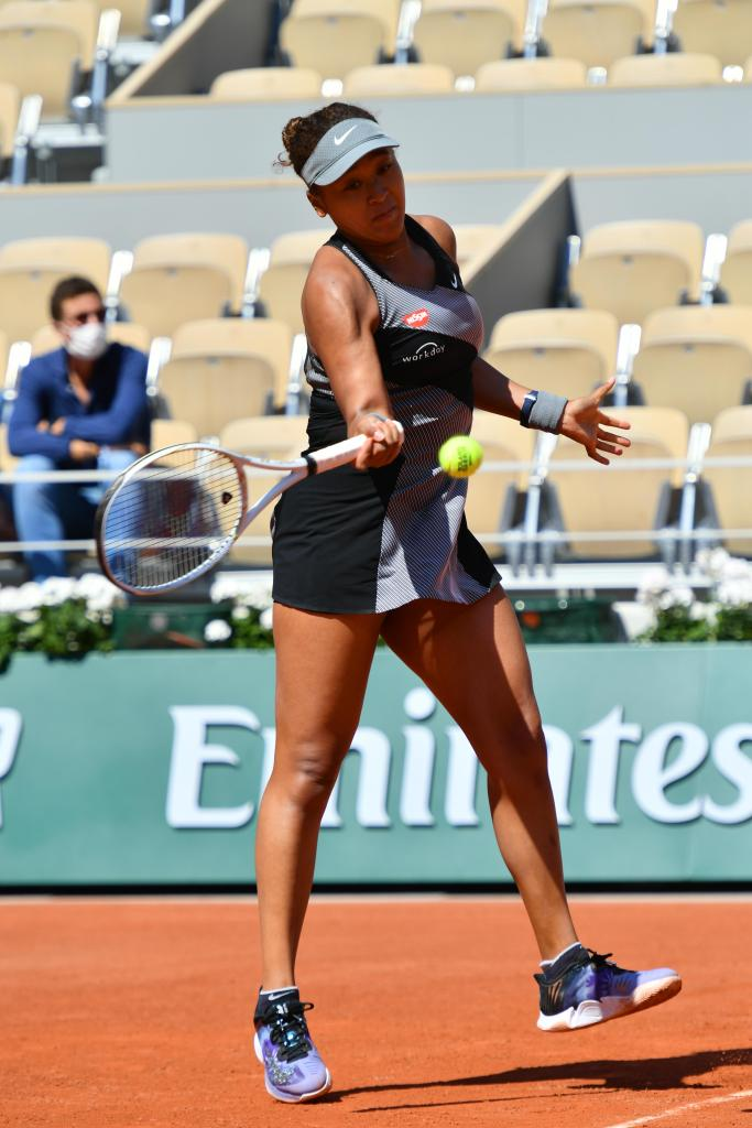 Naomi Osaka won her first match in Roland Garros 2021 in Paris on May 30th 2021. Japan's Naomi Osaka, said Wednesday she will not speak with the media during this year's French Open because of the toll news conferences take on players' emotional well-being. 30 May 2021 Pictured: Naomi Osaka. Photo credit: KCS Presse / MEGA TheMegaAgency.com +1 888 505 6342 (Mega Agency TagID: MEGA758767_004.jpg) [Photo via Mega Agency]