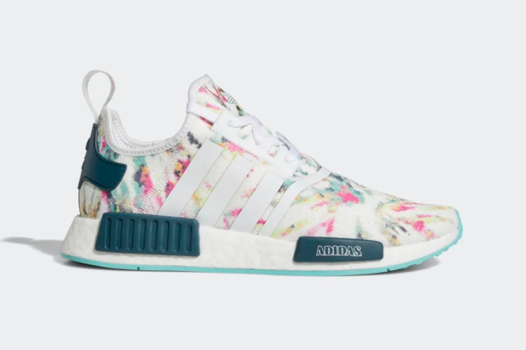 adidas nmdr1, cloud white, wild teal, acid mint, mens sneakers