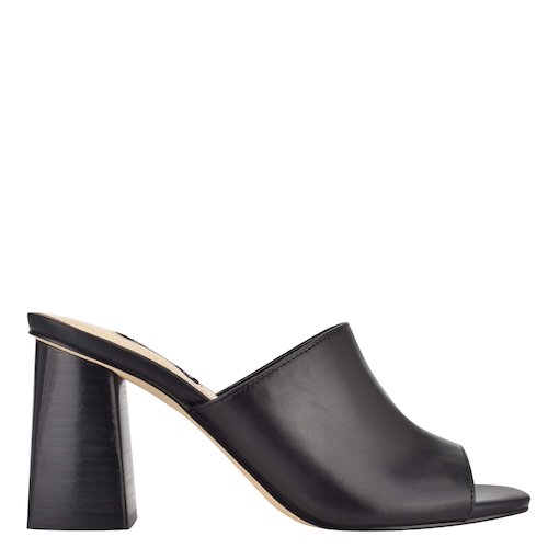 nine west, black mule, square toe