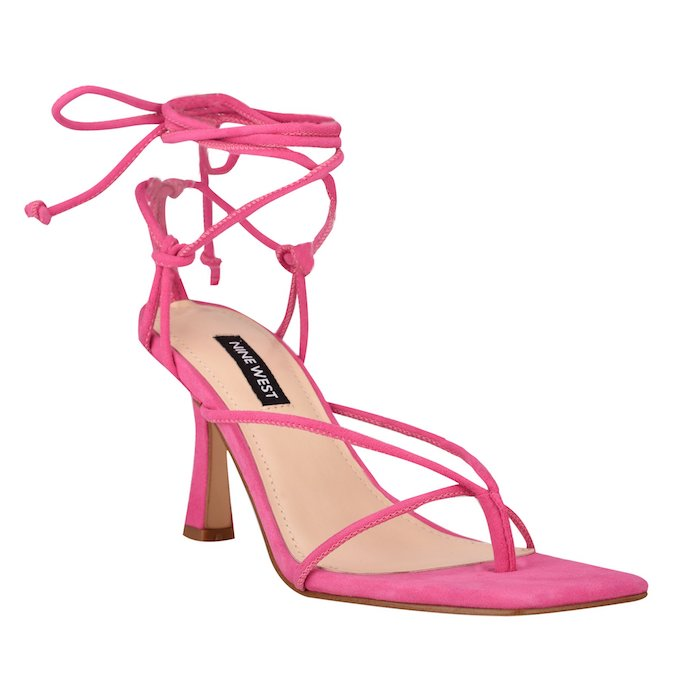 nine west, thong sandals, ankle wrap sandals, pink sandals