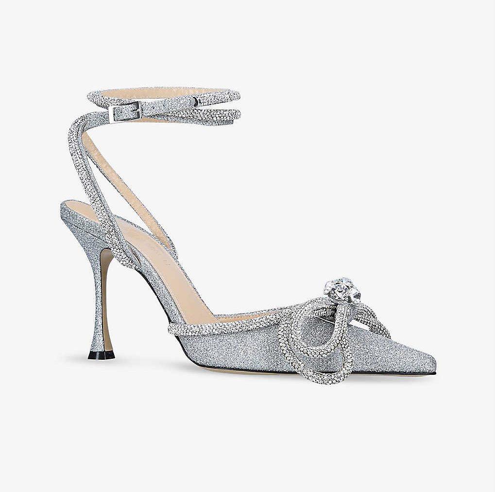 mach & mach, heels, silver, bow
