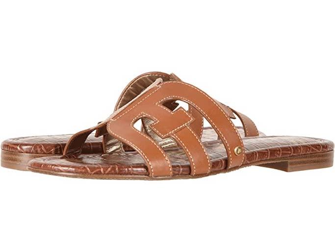 slide sandals, tan sandals, sam edelman