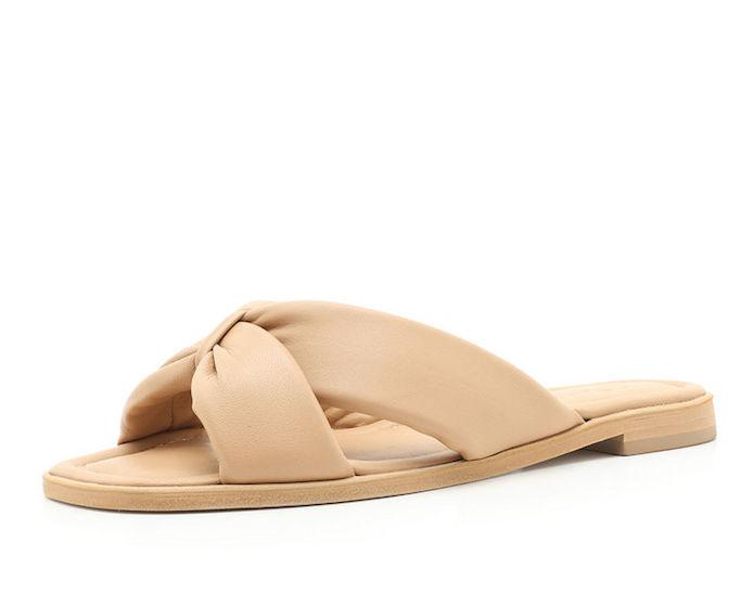 sandal slides, tan sandals, schutz