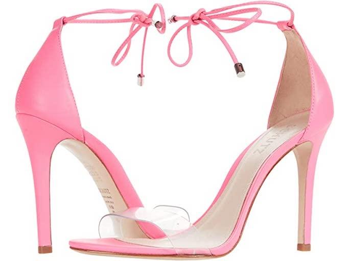 pink sandal, ankle tie sandal, schutz