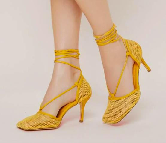 SHEIN fishnet stilettos, pumps, yellow, square toe