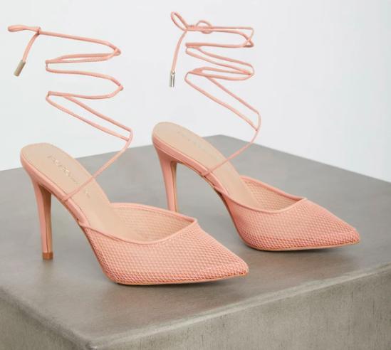 BCBG Hendri Mesh Heel, fishnet stilettos, pumps, pink, strappy