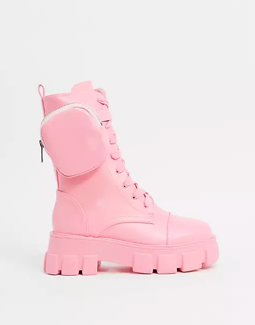 Public Desire Wide Fit Intention Chunky Calf Boot in Pastel Pink