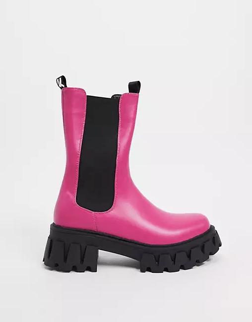 Koi Footwear Sentry Vegan Chunky Boots in Fuschia