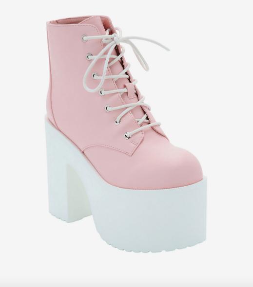 Pastel Pink Platform Booties