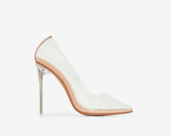 Ego Shoes Farrah Perspex Clear Heel in Nude Patent