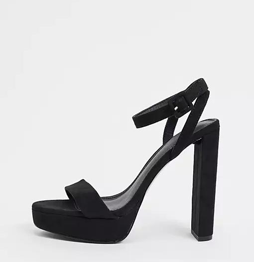 ASOS DESIGN Wide Fit Natasha Platform in black