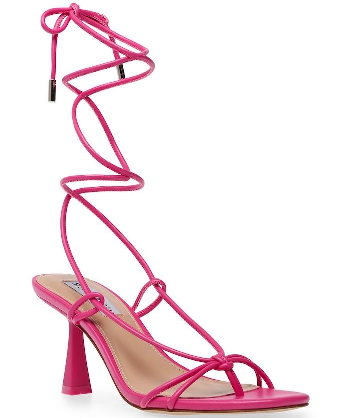 steve madden, strappy sandals, ankle wrap sandals, pink sandals
