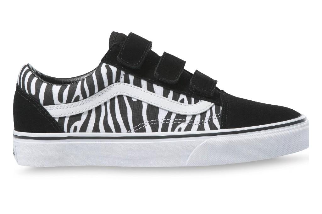 vans old skool velcro sneaker zebra print, zebra print shoes for women