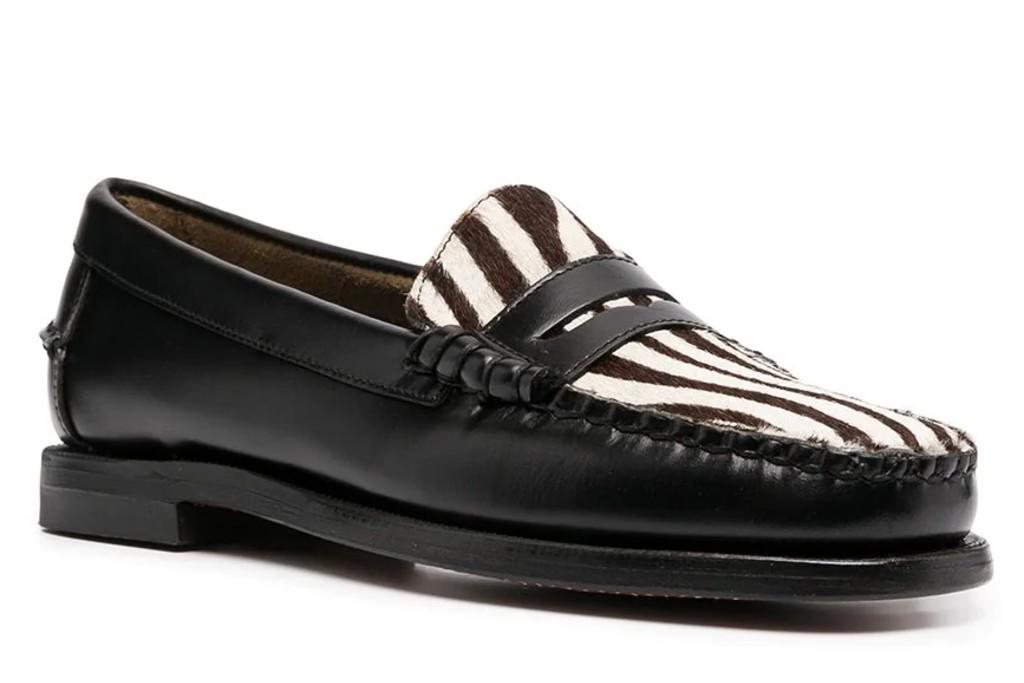 sebago zebra print loafers, zebra print shoes