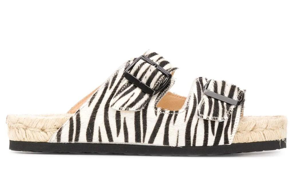 Manebi Nordic Zebra-Print Sandals, zebra print shoes