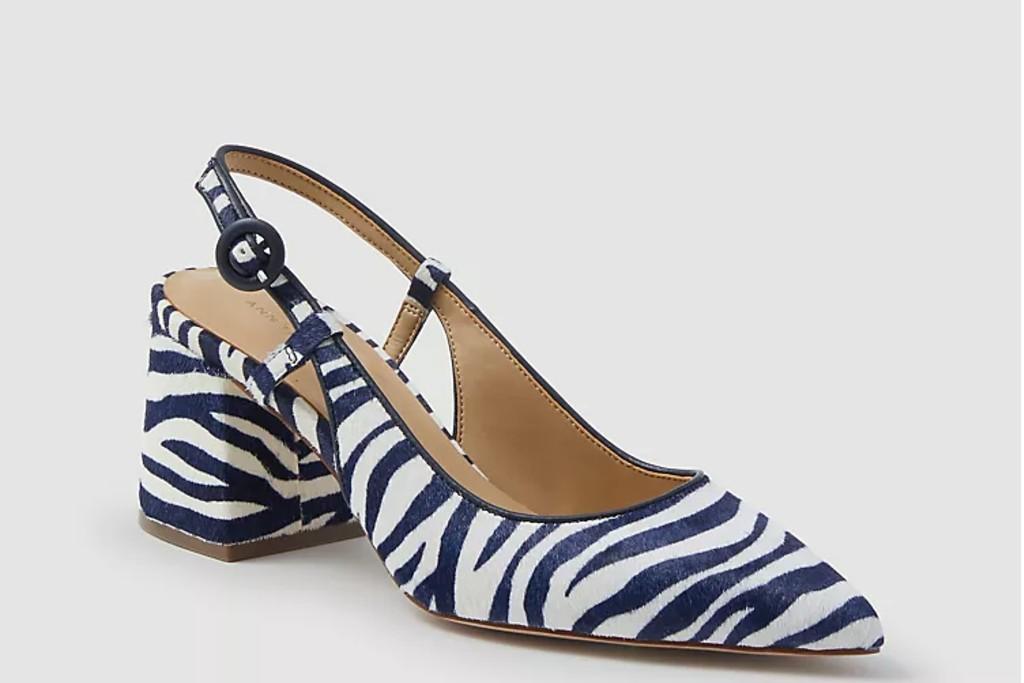 Ann Taylor Esme Zebra Print Haircalf Block Heel Slingback Pumps, zebra print shoes for women