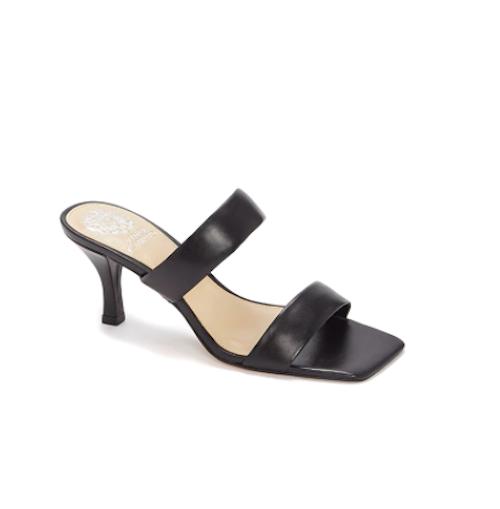 vince camuto, square sandal, black mule sandal