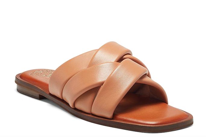 slide sandals, tan sandals, vince camuto
