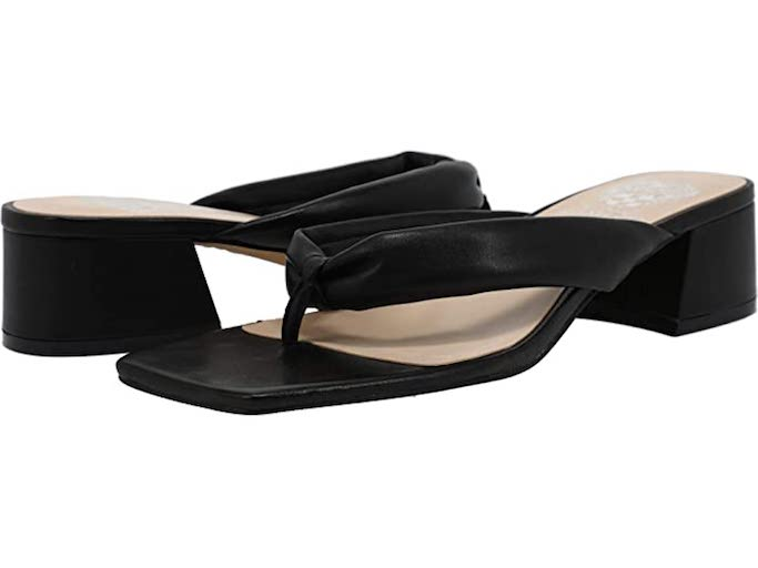 Vince Camuto Sabrinda Square Toe Sandals, black sandals, square toe sandals, heeled thong sandals