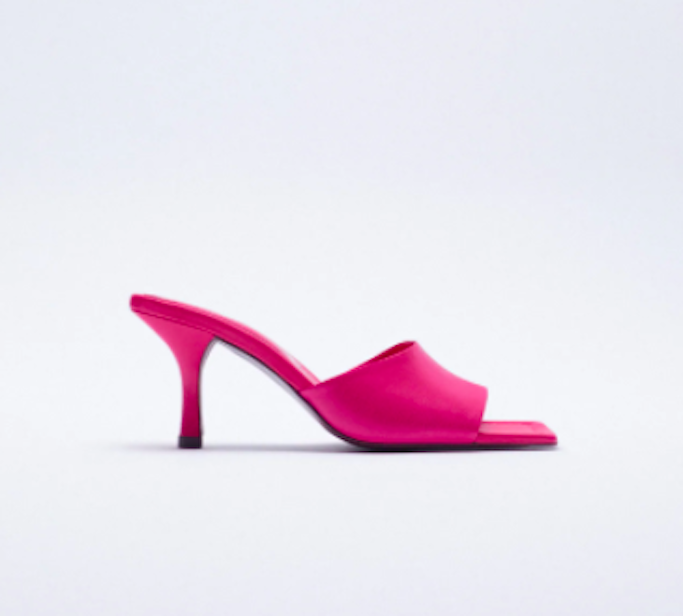 pink sandal, square toe sandal, zara sandals