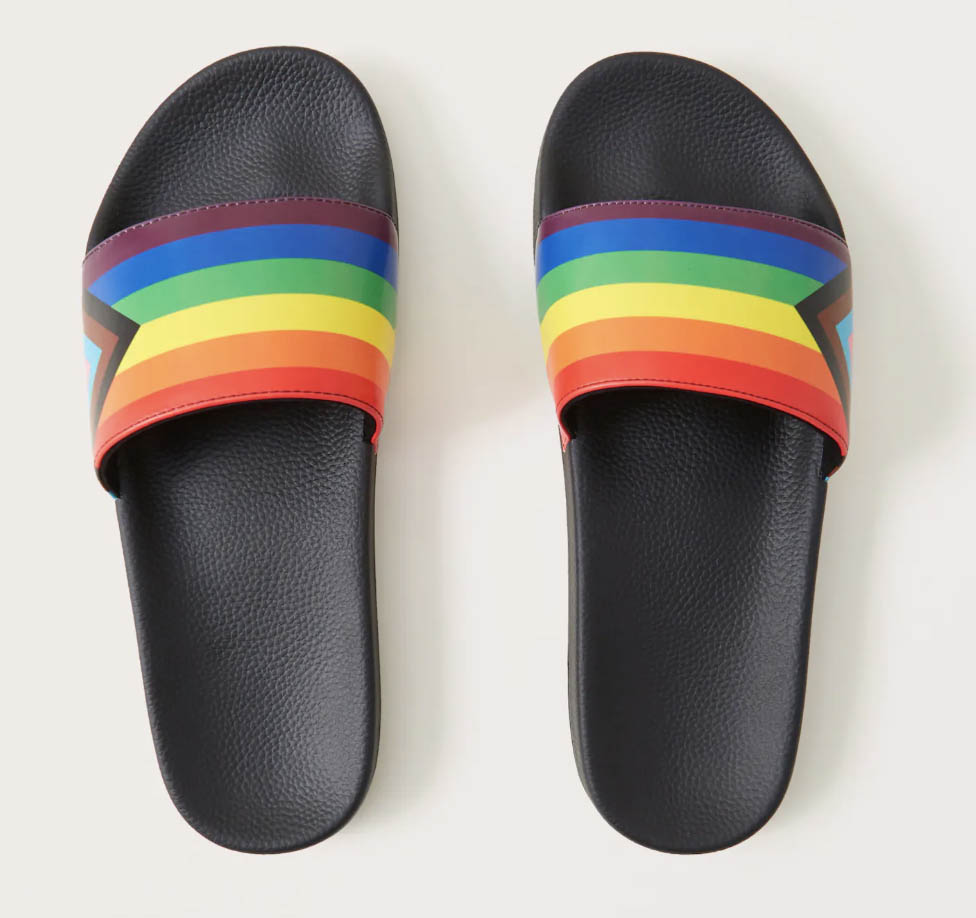 abercrombie and fitch pride collection 2021, a&f x the trevor project, rainbow slides, sandals, lgbtq