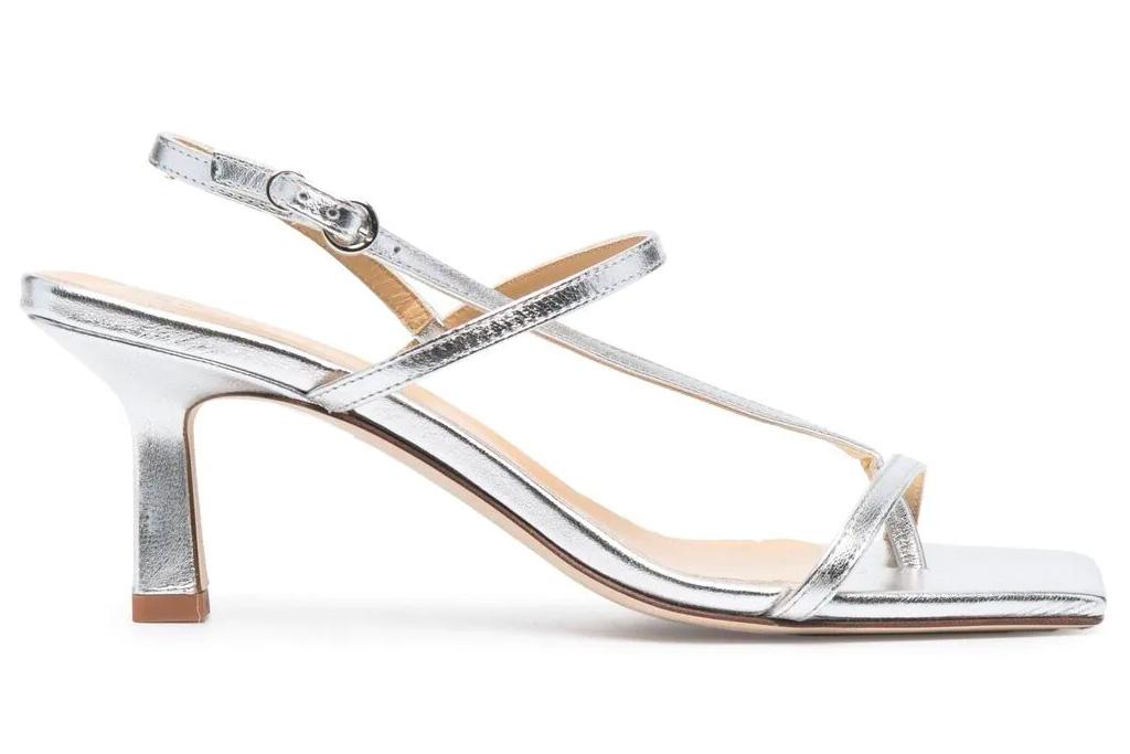sandals, metallic, loop toe, aeyde