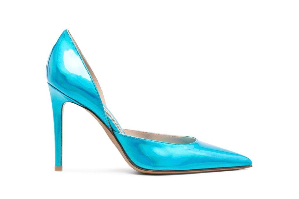 alexandre vauthier, metallic pumps, turquoise heels
