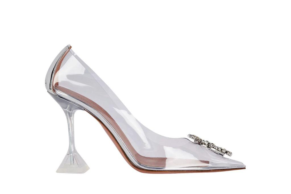 Amina Muaddi, glass pumps, jeweled heels