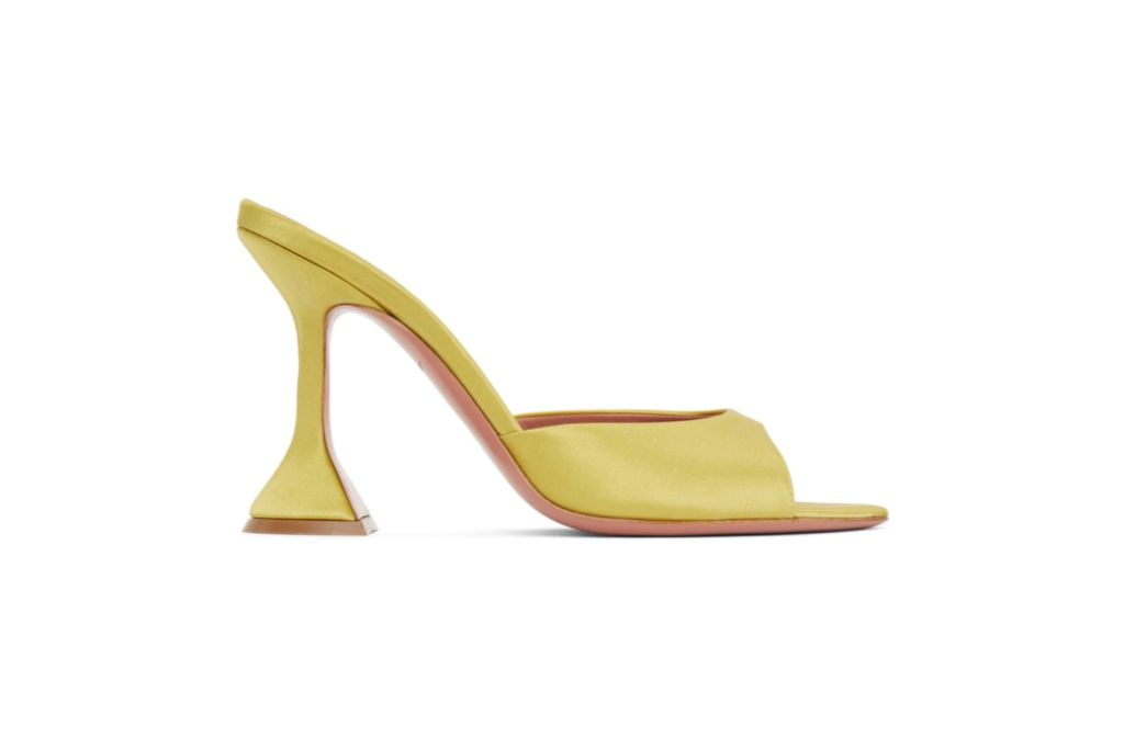 amina muaddi, yellow satin heeled sandals, lime heels