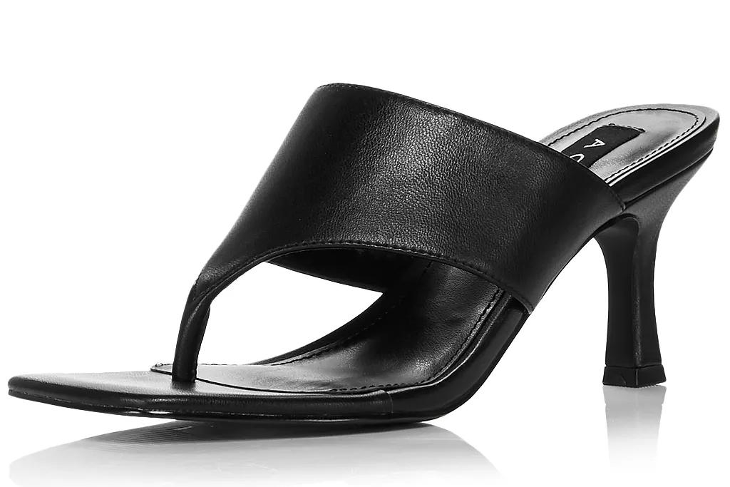 black sandals, thong, square, aqua