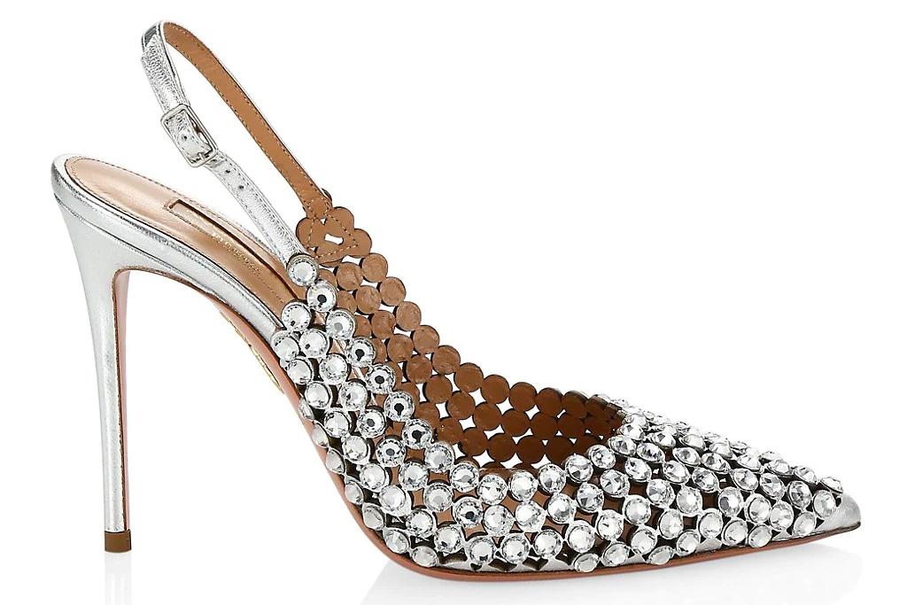 aquazurra, heels, crystal, silver, slingback