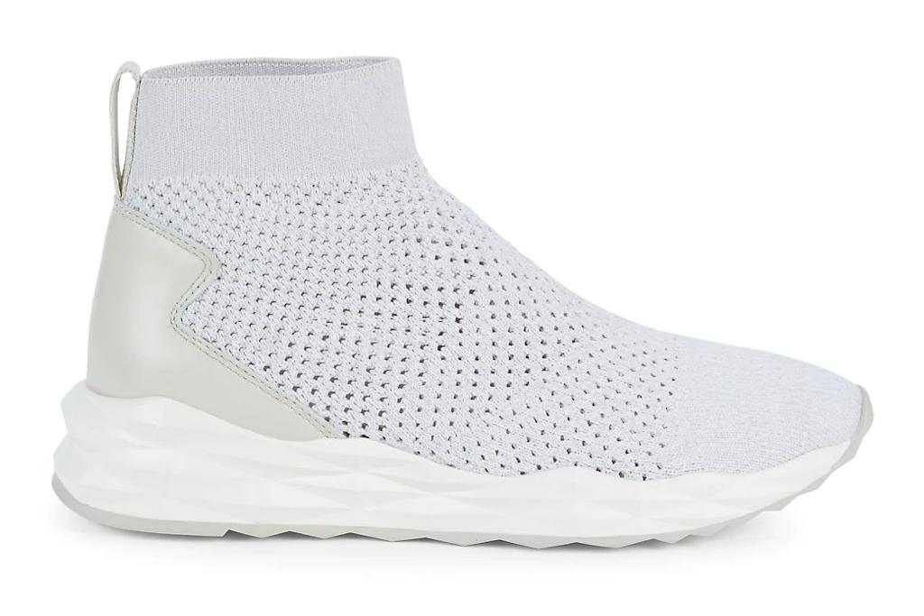 white sneakers, sock, ash