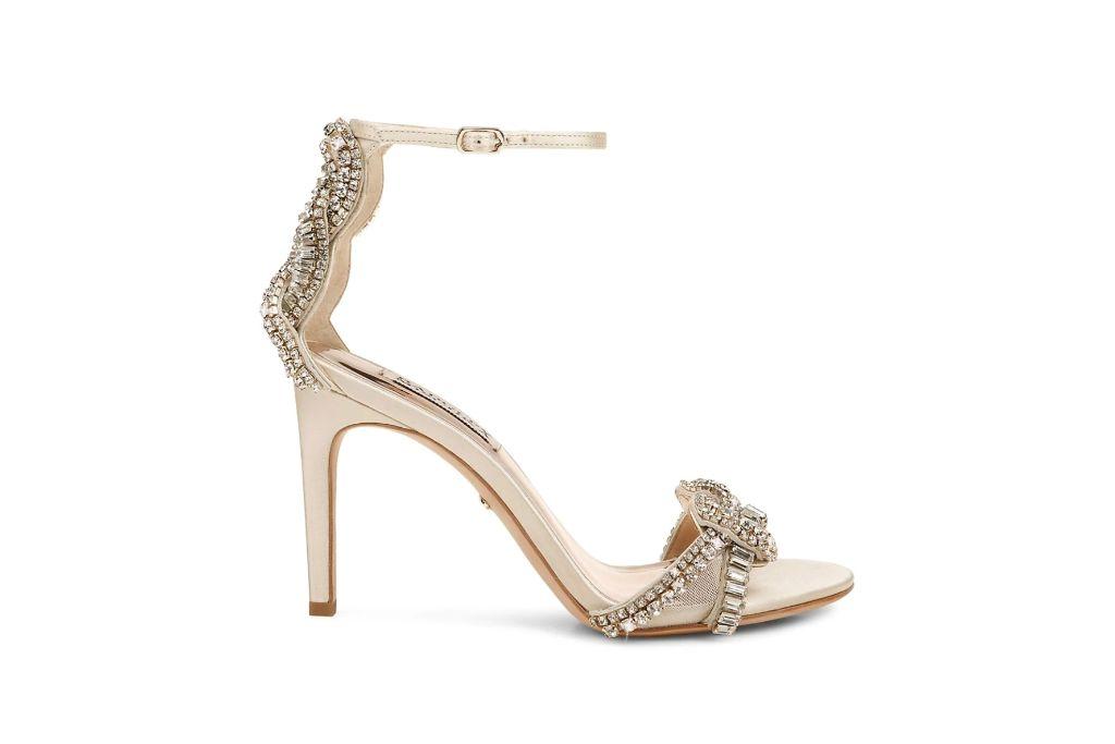 badgley mischka, ankle strap sandals, jeweled sandals