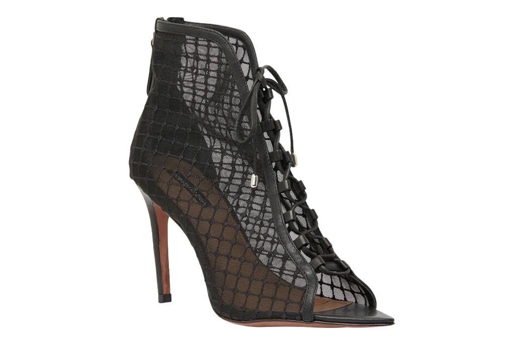 fishnet heels, black, mesh, bcbg