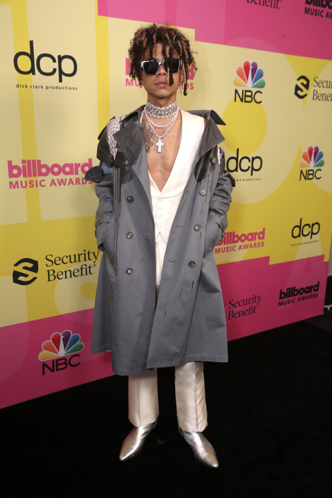 2021 BILLBOARD MUSIC AWARDS -- Pictured: In this image released on May 23, Iann Dior arrives to the 2021 Billboard Music Awards held at the Microsoft Theater on May 23, 2021 in Los Angeles, California. -- (Photo by: Todd Williamson/NBC
