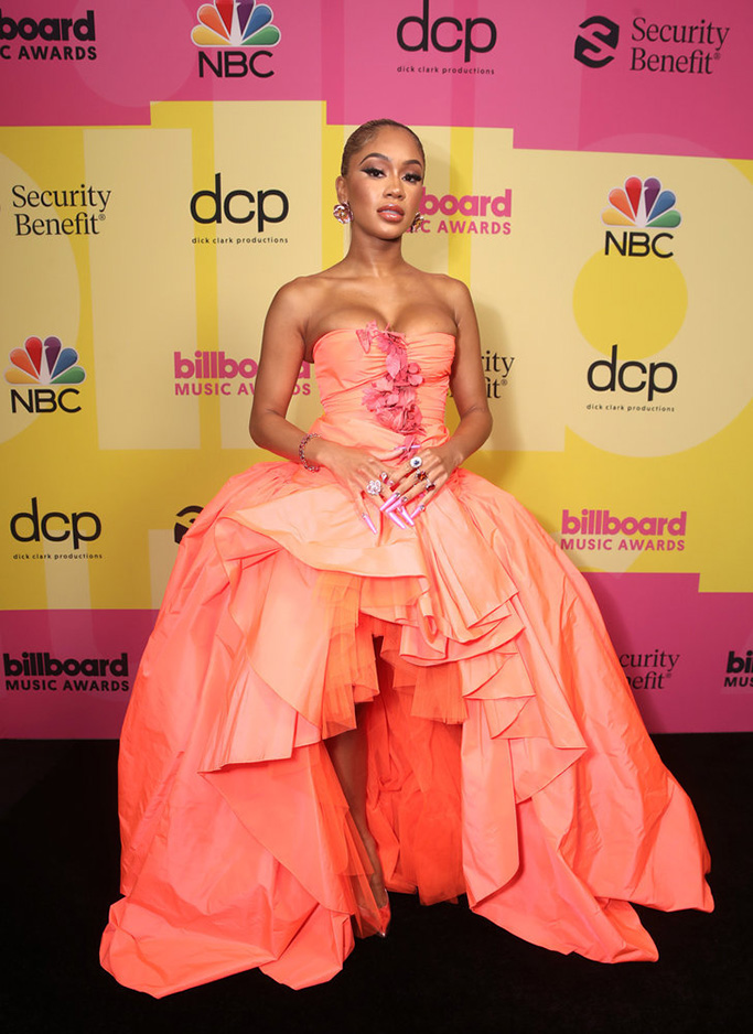 2021 BILLBOARD MUSIC AWARDS -- Pictured: In this image released on May 23, Saweetie arrives to the 2021 Billboard Music Awards held at the Microsoft Theater on May 23, 2021 in Los Angeles, California. -- (Photo by: Todd Williamson/NBC)